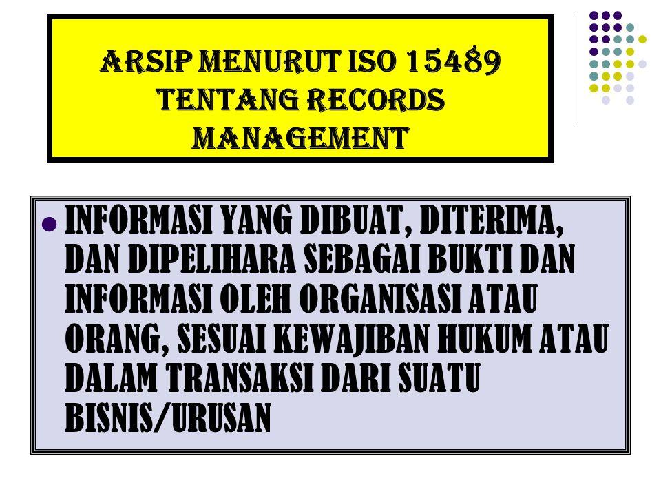 ARSIP MENURUT ISO 15489 TENTANG RECORDS MANAGEMENT INFORMASI YANG DIBUAT, DITERIMA, DAN DIPELIHARA SEBAGAI BUKTI DAN INFORMASI OLEH ORGANISASI ATAU OR