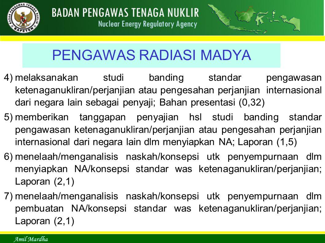 Amil Mardha PENGAWAS RADIASI MADYA 4)melaksanakan studi banding standar pengawasan ketenaganukliran/perjanjian atau pengesahan perjanjian internasional dari negara lain sebagai penyaji; Bahan presentasi (0,32) 5)memberikan tanggapan penyajian hsl studi banding standar pengawasan ketenaganukliran/perjanjian atau pengesahan perjanjian internasional dari negara lain dlm menyiapkan NA; Laporan (1,5) 6)menelaah/menganalisis naskah/konsepsi utk penyempurnaan dlm menyiapkan NA/konsepsi standar was ketenaganukliran/perjanjian; Laporan (2,1) 7)menelaah/menganalisis naskah/konsepsi utk penyempurnaan dlm pembuatan NA/konsepsi standar was ketenaganukliran/perjanjian; Laporan (2,1)