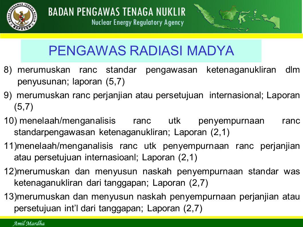 Amil Mardha PENGAWAS RADIASI MADYA 8)merumuskan ranc standar pengawasan ketenaganukliran dlm penyusunan; laporan (5,7) 9) merumuskan ranc perjanjian a