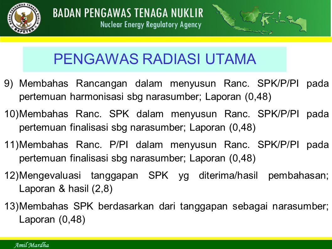 Amil Mardha PENGAWAS RADIASI UTAMA 9)Membahas Rancangan dalam menyusun Ranc. SPK/P/PI pada pertemuan harmonisasi sbg narasumber; Laporan (0,48) 10)Mem