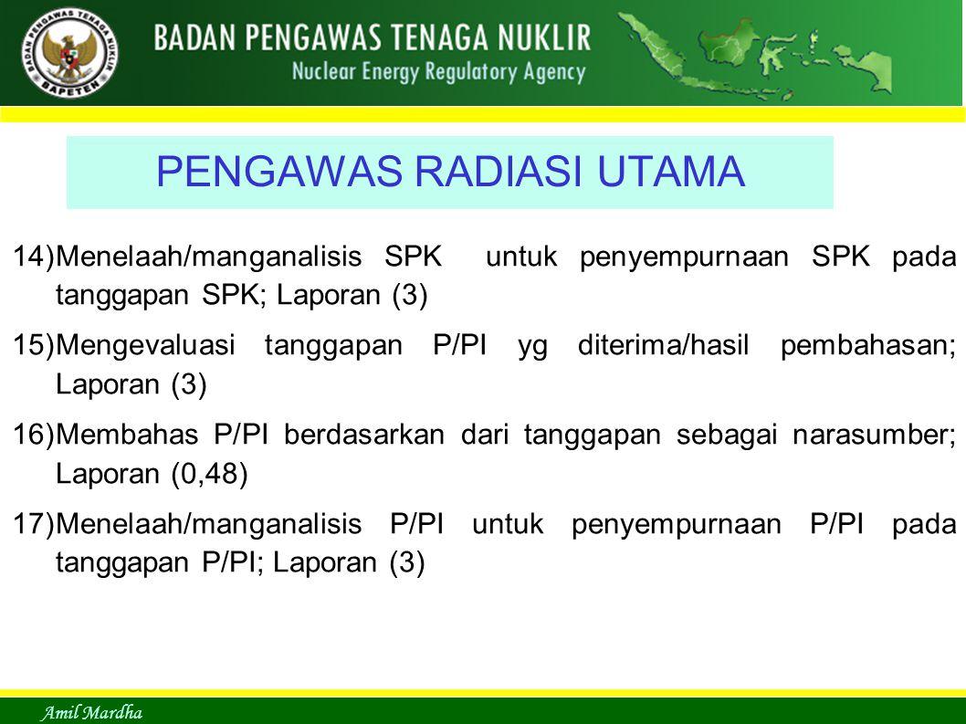 Amil Mardha PENGAWAS RADIASI UTAMA 14)Menelaah/manganalisis SPK untuk penyempurnaan SPK pada tanggapan SPK; Laporan (3) 15)Mengevaluasi tanggapan P/PI yg diterima/hasil pembahasan; Laporan (3) 16)Membahas P/PI berdasarkan dari tanggapan sebagai narasumber; Laporan (0,48) 17)Menelaah/manganalisis P/PI untuk penyempurnaan P/PI pada tanggapan P/PI; Laporan (3)