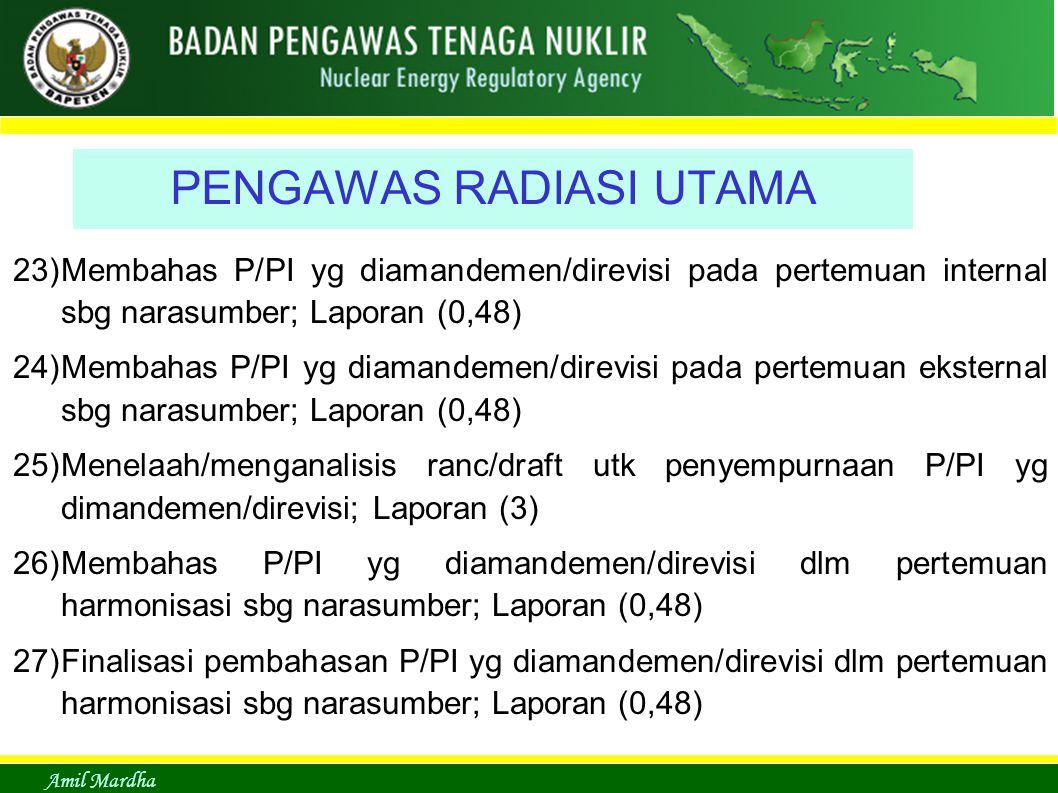 Amil Mardha PENGAWAS RADIASI UTAMA 23)Membahas P/PI yg diamandemen/direvisi pada pertemuan internal sbg narasumber; Laporan (0,48) 24)Membahas P/PI yg diamandemen/direvisi pada pertemuan eksternal sbg narasumber; Laporan (0,48) 25)Menelaah/menganalisis ranc/draft utk penyempurnaan P/PI yg dimandemen/direvisi; Laporan (3) 26)Membahas P/PI yg diamandemen/direvisi dlm pertemuan harmonisasi sbg narasumber; Laporan (0,48) 27)Finalisasi pembahasan P/PI yg diamandemen/direvisi dlm pertemuan harmonisasi sbg narasumber; Laporan (0,48)