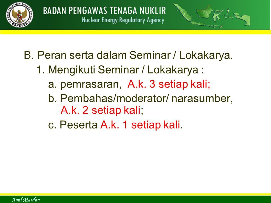 Amil Mardha B. Peran serta dalam Seminar / Lokakarya. 1. Mengikuti Seminar / Lokakarya : a. pemrasaran, A.k. 3 setiap kali; b. Pembahas/moderator/ nar