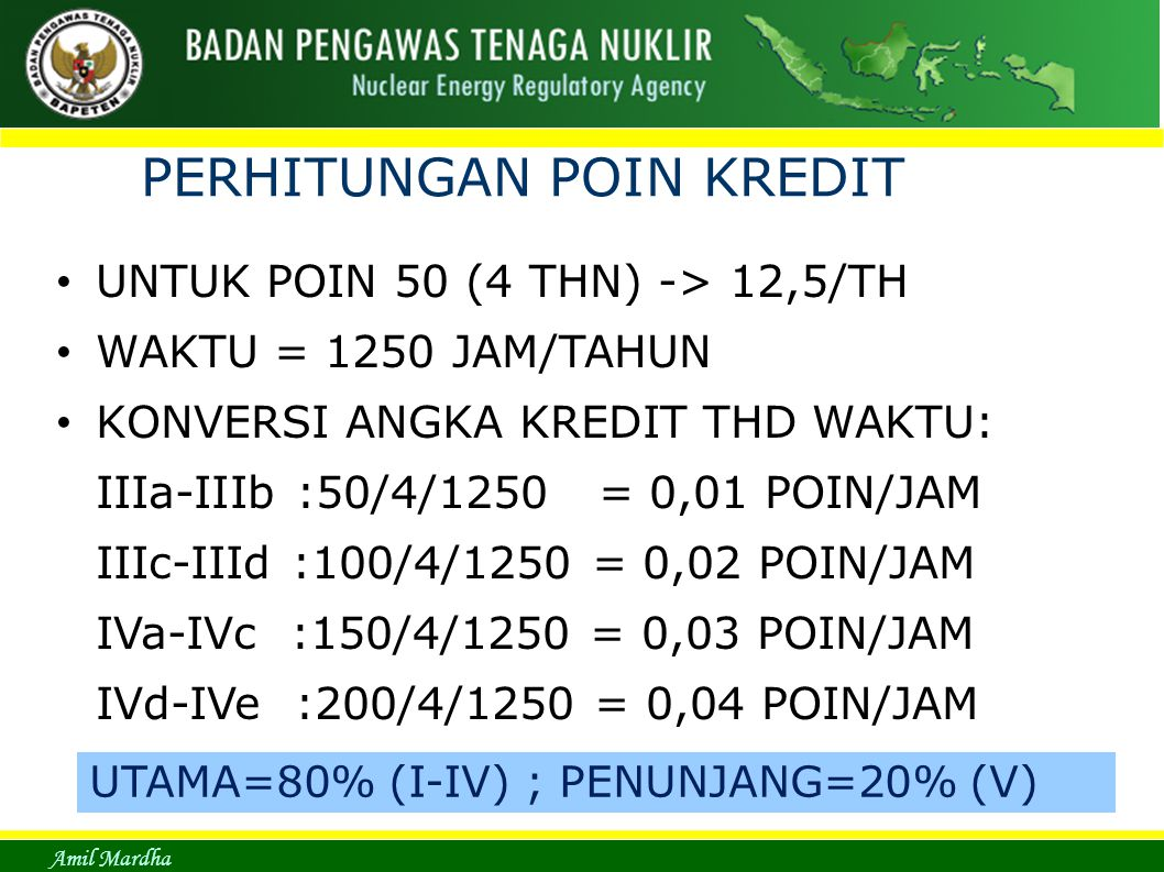 Amil Mardha PERHITUNGAN POIN KREDIT UNTUK POIN 50 (4 THN) -> 12,5/TH WAKTU = 1250 JAM/TAHUN KONVERSI ANGKA KREDIT THD WAKTU: IIIa-IIIb :50/4/1250 = 0,01 POIN/JAM IIIc-IIId :100/4/1250 = 0,02 POIN/JAM IVa-IVc :150/4/1250 = 0,03 POIN/JAM IVd-IVe :200/4/1250 = 0,04 POIN/JAM UTAMA=80% (I-IV) ; PENUNJANG=20% (V)
