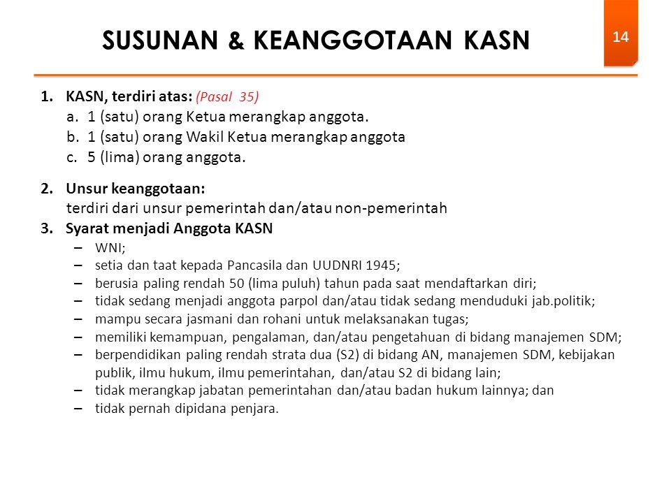1.KASN, terdiri atas: (Pasal 35) a.1 (satu) orang Ketua merangkap anggota.