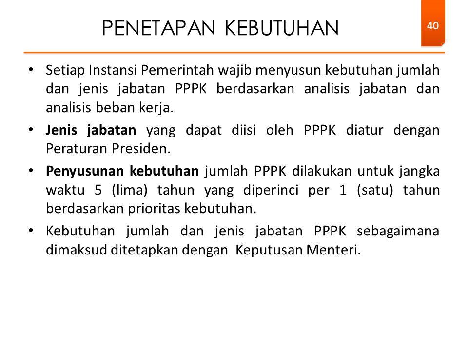 Setiap Instansi Pemerintah wajib menyusun kebutuhan jumlah dan jenis jabatan PPPK berdasarkan analisis jabatan dan analisis beban kerja.