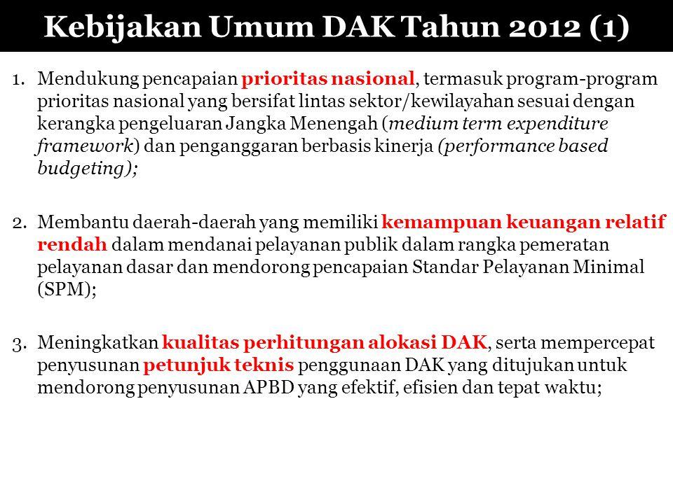 Kebijakan Umum DAK Tahun 2012 (1) 1.Mendukung pencapaian prioritas nasional, termasuk program-program prioritas nasional yang bersifat lintas sektor/k