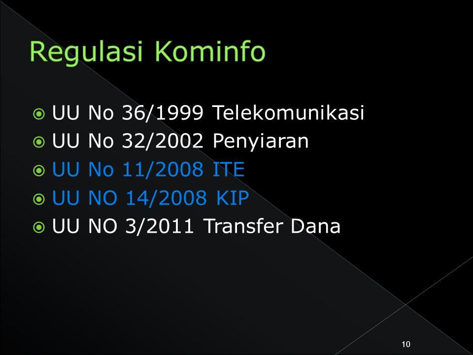  UU No 36/1999 Telekomunikasi  UU No 32/2002 Penyiaran  UU No 11/2008 ITE  UU NO 14/2008 KIP  UU NO 3/2011 Transfer Dana 10