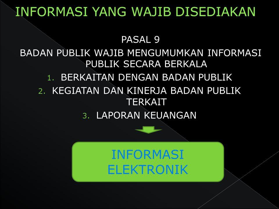 PASAL 9 BADAN PUBLIK WAJIB MENGUMUMKAN INFORMASI PUBLIK SECARA BERKALA 1. BERKAITAN DENGAN BADAN PUBLIK 2. KEGIATAN DAN KINERJA BADAN PUBLIK TERKAIT 3