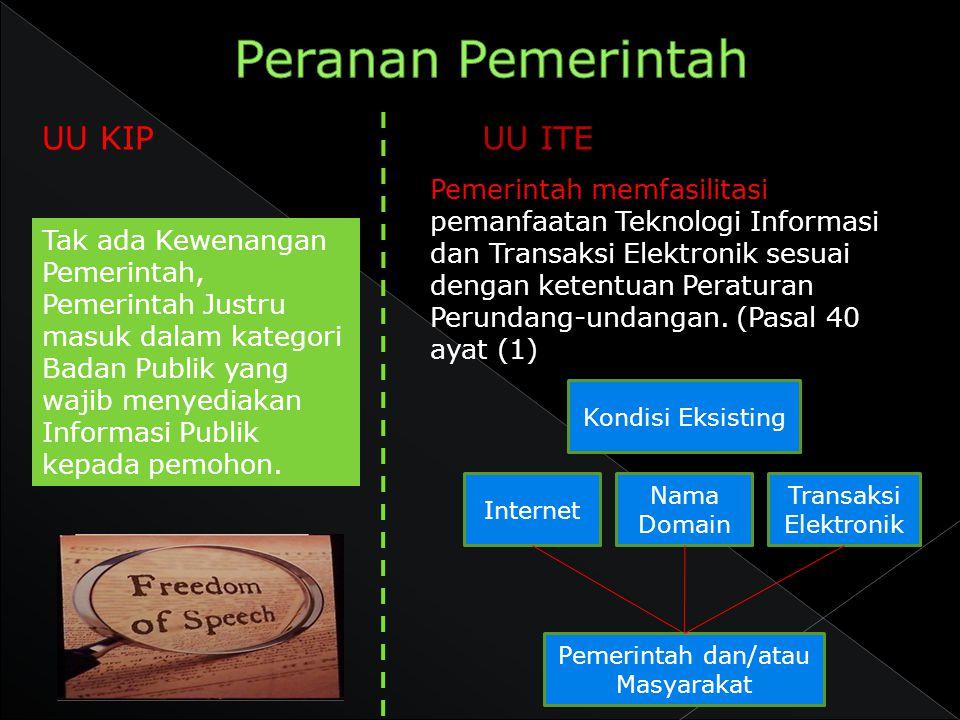 UU KIP Pemerintah memfasilitasi pemanfaatan Teknologi Informasi dan Transaksi Elektronik sesuai dengan ketentuan Peraturan Perundang-undangan. (Pasal