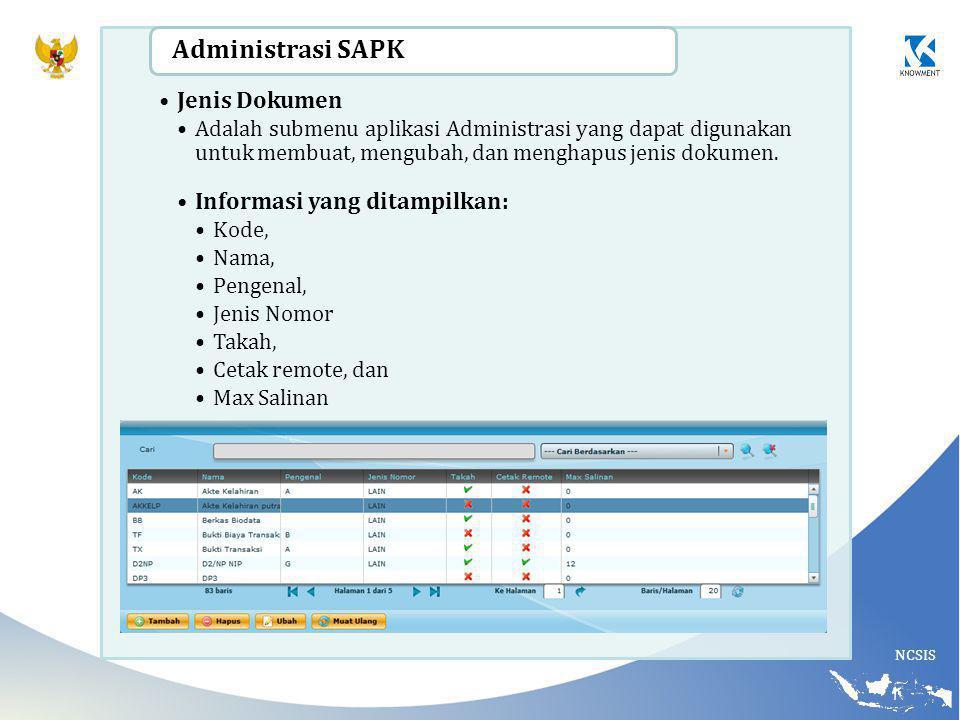 NCSIS Jenis Dokumen Adalah submenu aplikasi Administrasi yang dapat digunakan untuk membuat, mengubah, dan menghapus jenis dokumen.