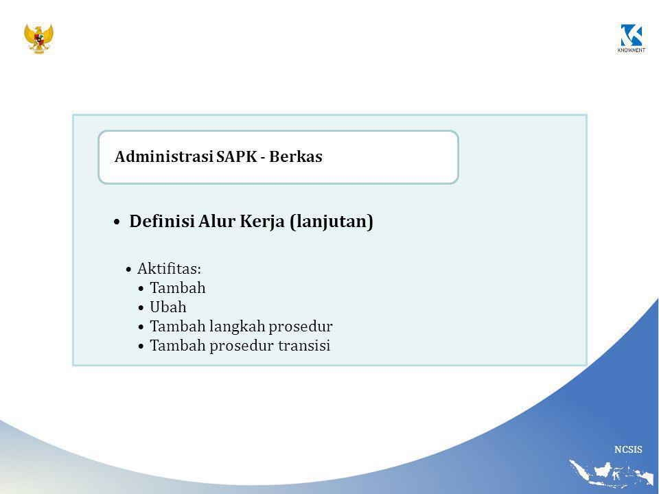 NCSIS Definisi Alur Kerja (lanjutan) Aktifitas: Tambah Ubah Tambah langkah prosedur Tambah prosedur transisi Administrasi SAPK - Berkas