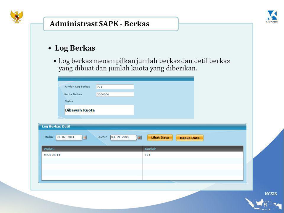 NCSIS Log Berkas Log berkas menampilkan jumlah berkas dan detil berkas yang dibuat dan jumlah kuota yang diberikan. Administrast SAPK - Berkas