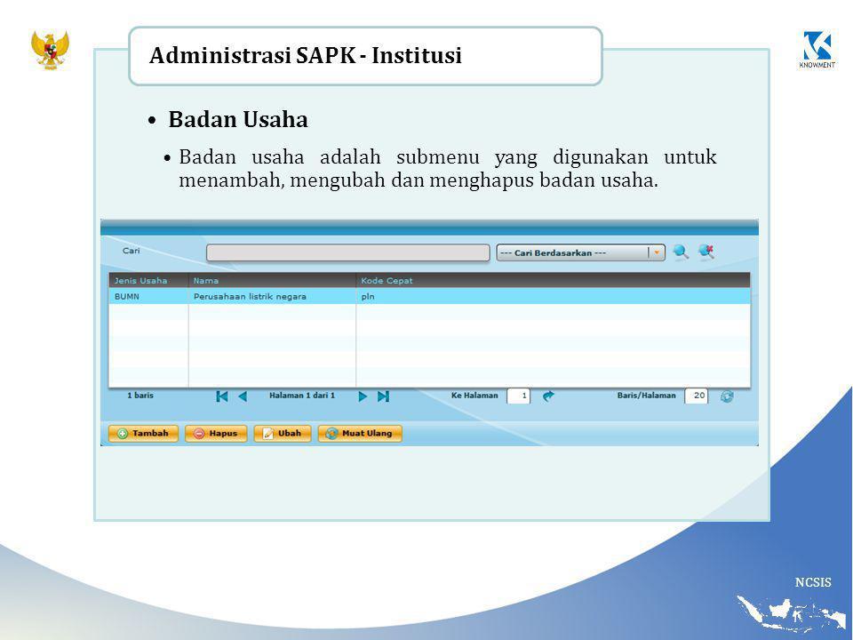 NCSIS Badan Usaha Badan usaha adalah submenu yang digunakan untuk menambah, mengubah dan menghapus badan usaha. Administrasi SAPK - Institusi
