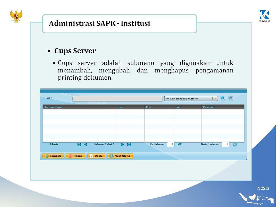 NCSIS Cups Server Cups server adalah submenu yang digunakan untuk menambah, mengubah dan menghapus pengamanan printing dokumen. Administrasi SAPK - In