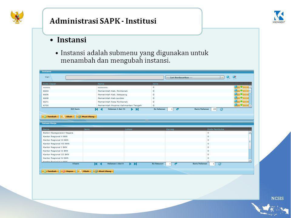 NCSIS Instansi Instansi adalah submenu yang digunakan untuk menambah dan mengubah instansi. Administrasi SAPK - Institusi
