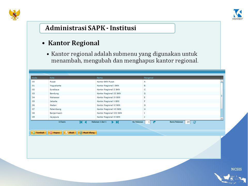 NCSIS Kantor Regional Kantor regional adalah submenu yang digunakan untuk menambah, mengubah dan menghapus kantor regional. Administrasi SAPK - Instit