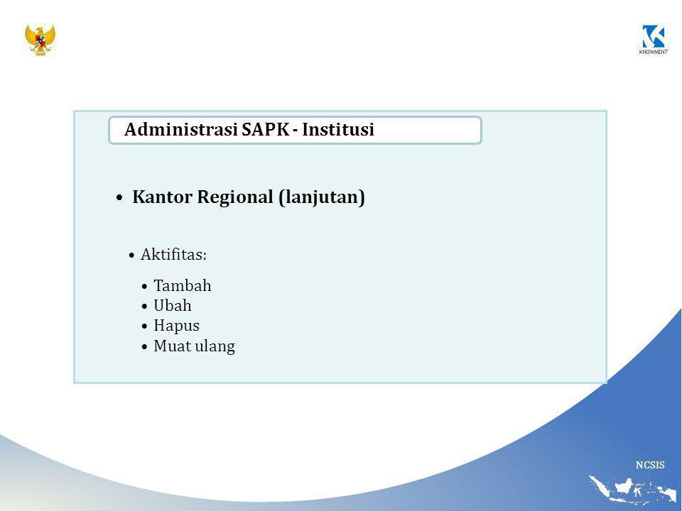 NCSIS Kantor Regional (lanjutan) Aktifitas: Tambah Ubah Hapus Muat ulang Administrasi SAPK - Institusi