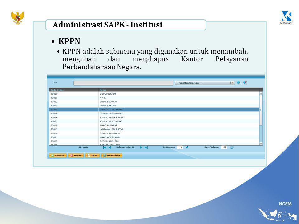 NCSIS KPPN KPPN adalah submenu yang digunakan untuk menambah, mengubah dan menghapus Kantor Pelayanan Perbendaharaan Negara. Administrasi SAPK - Insti