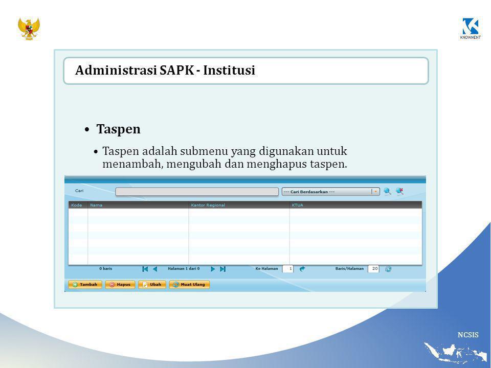 NCSIS Taspen Taspen adalah submenu yang digunakan untuk menambah, mengubah dan menghapus taspen. Administrasi SAPK - Institusi