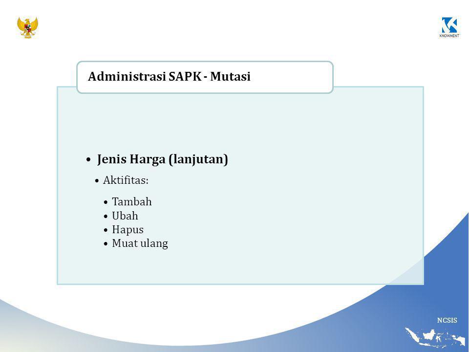 NCSIS Jenis Harga (lanjutan) Aktifitas: Tambah Ubah Hapus Muat ulang Administrasi SAPK - Mutasi