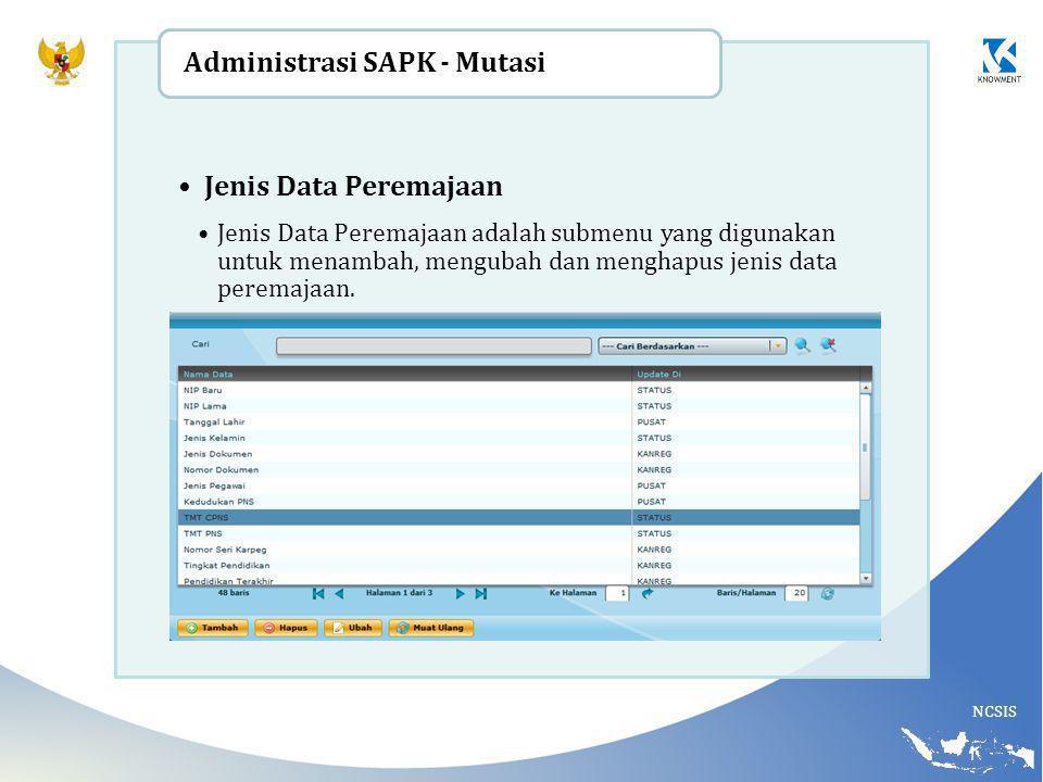 NCSIS Jenis Data Peremajaan Jenis Data Peremajaan adalah submenu yang digunakan untuk menambah, mengubah dan menghapus jenis data peremajaan. Administ