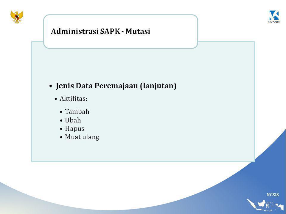 NCSIS Jenis Data Peremajaan (lanjutan) Aktifitas: Tambah Ubah Hapus Muat ulang Administrasi SAPK - Mutasi