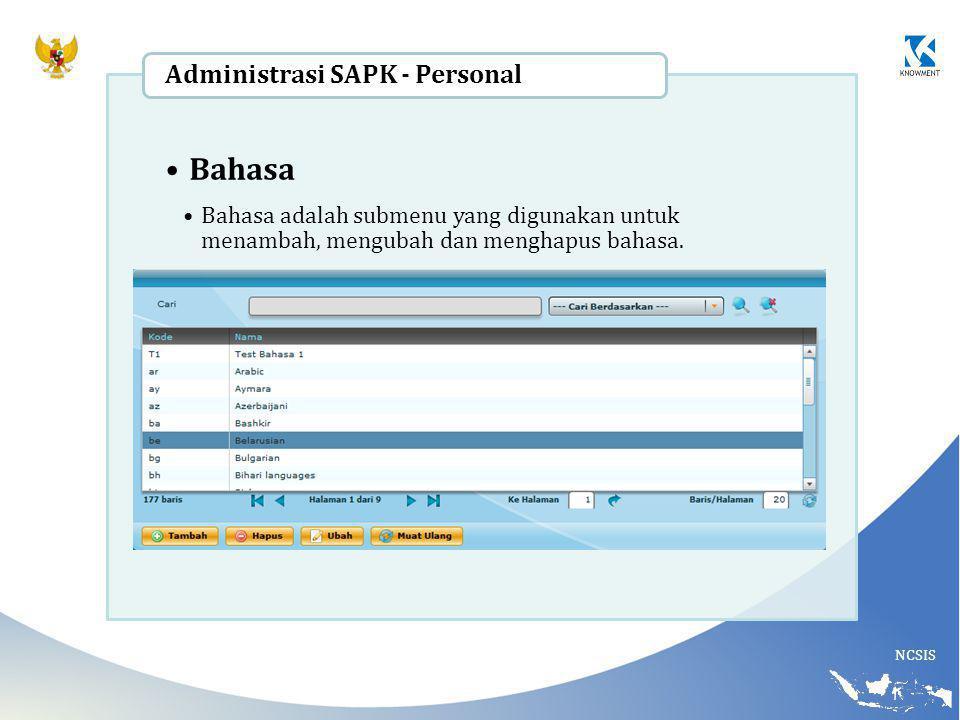 NCSIS Bahasa Bahasa adalah submenu yang digunakan untuk menambah, mengubah dan menghapus bahasa. Administrasi SAPK - Personal