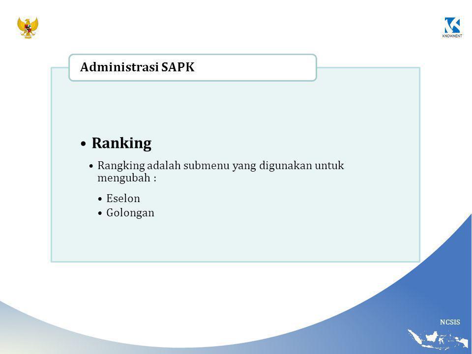 NCSIS Ranking Rangking adalah submenu yang digunakan untuk mengubah : Eselon Golongan Administrasi SAPK