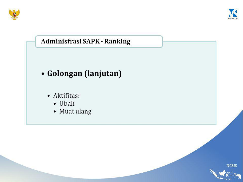 NCSIS Golongan (lanjutan) Aktifitas: Ubah Muat ulang Administrasi SAPK - Ranking