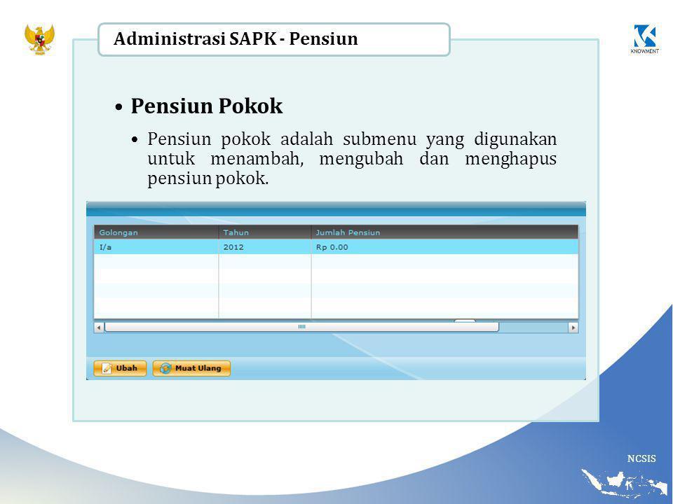 NCSIS Pensiun Pokok Pensiun pokok adalah submenu yang digunakan untuk menambah, mengubah dan menghapus pensiun pokok. Administrasi SAPK - Pensiun