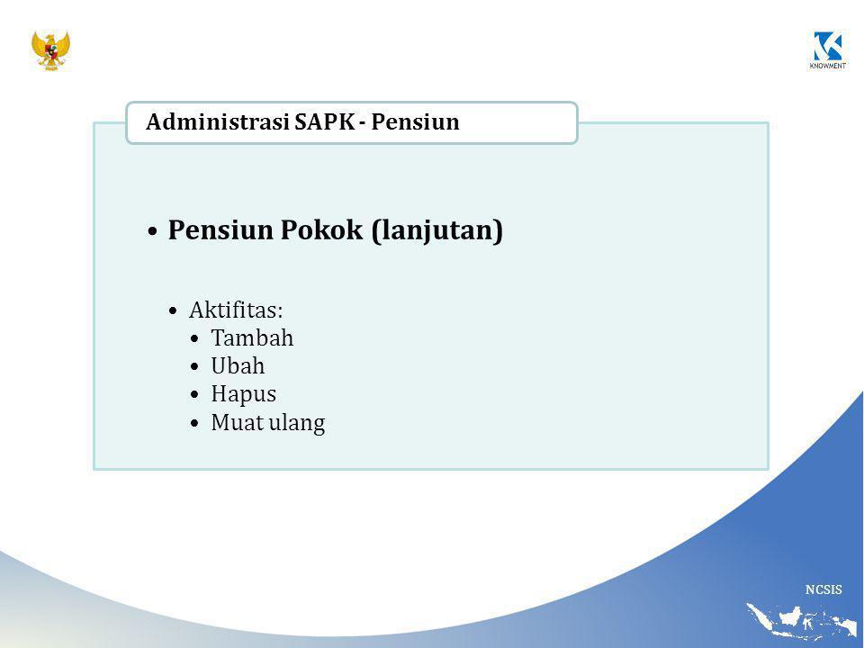 NCSIS Pensiun Pokok (lanjutan) Aktifitas: Tambah Ubah Hapus Muat ulang Administrasi SAPK - Pensiun