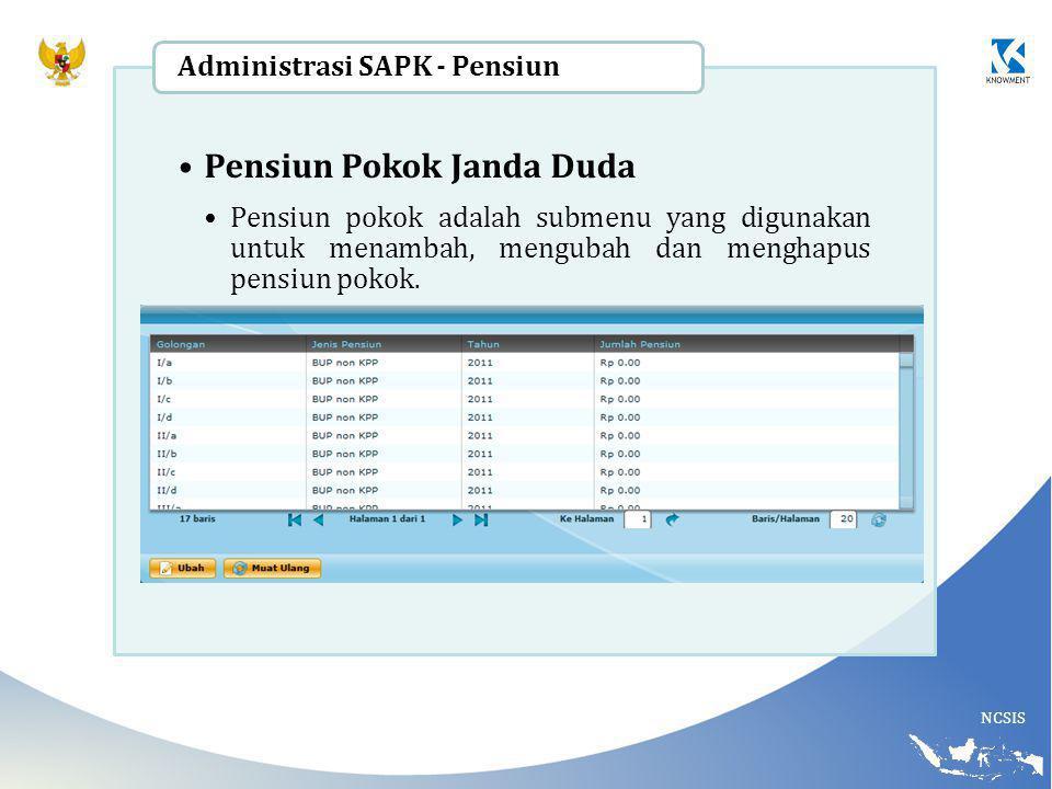 NCSIS Pensiun Pokok Janda Duda Pensiun pokok adalah submenu yang digunakan untuk menambah, mengubah dan menghapus pensiun pokok. Administrasi SAPK - P