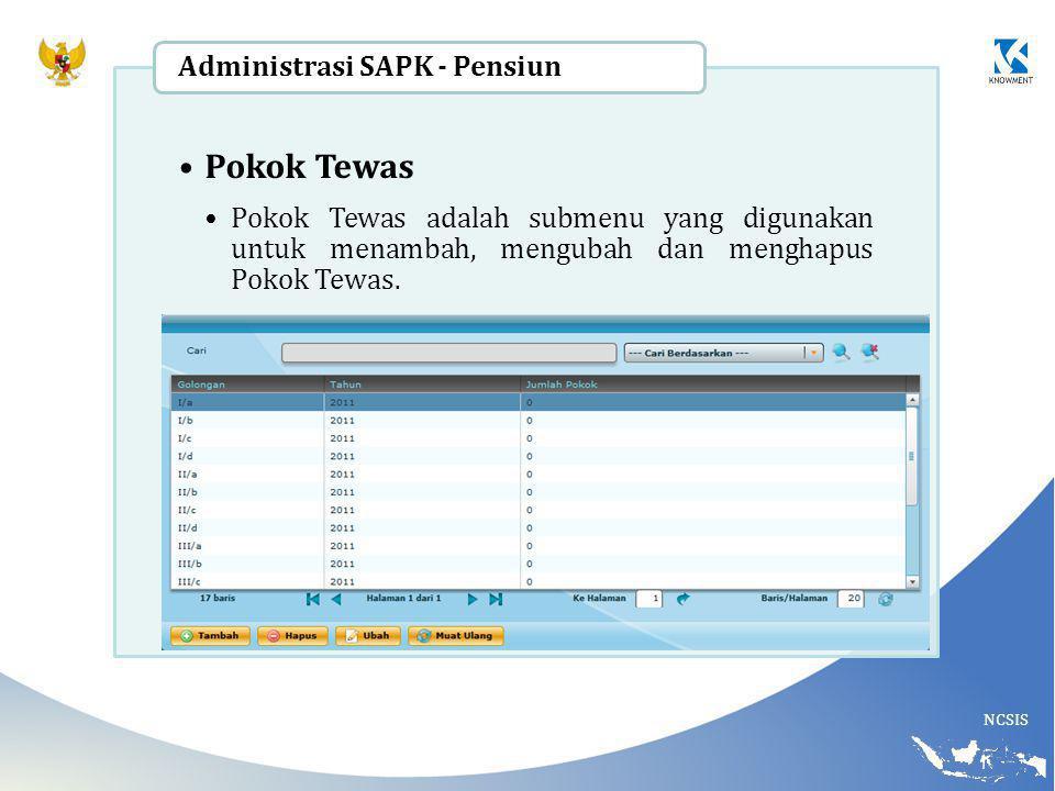 NCSIS Pokok Tewas Pokok Tewas adalah submenu yang digunakan untuk menambah, mengubah dan menghapus Pokok Tewas. Administrasi SAPK - Pensiun