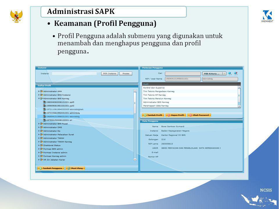 NCSIS Keamanan (Profil Pengguna) Profil Pengguna adalah submenu yang digunakan untuk menambah dan menghapus pengguna dan profil pengguna.