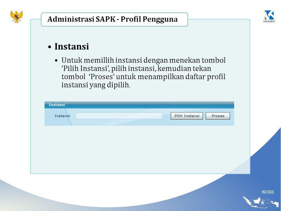 NCSIS Instansi Untuk memillih instansi dengan menekan tombol 'Pilih Instansi', pilih instansi, kemudian tekan tombol 'Proses' untuk menampilkan daftar