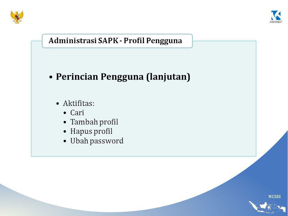 NCSIS Perincian Pengguna (lanjutan) Aktifitas: Cari Tambah profil Hapus profil Ubah password Administrasi SAPK - Profil Pengguna