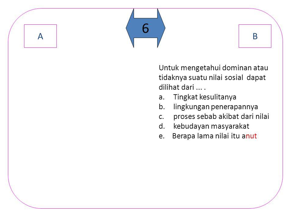 A B 5 Yang bukan termasuk jenis nilai menurut Prof.