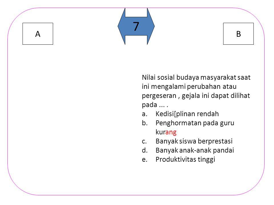 AB 6 Untuk mengetahui dominan atau tidaknya suatu nilai sosial dapat dilihat dari....