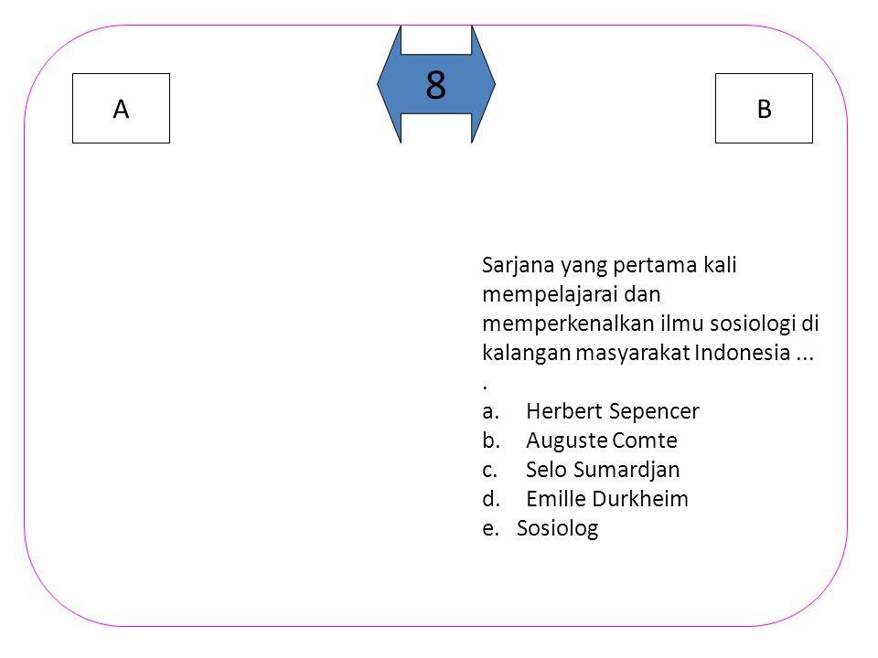 AB 8 Sarjana yang pertama kali mempelajarai dan memperkenalkan ilmu sosiologi di kalangan masyarakat Indonesia....