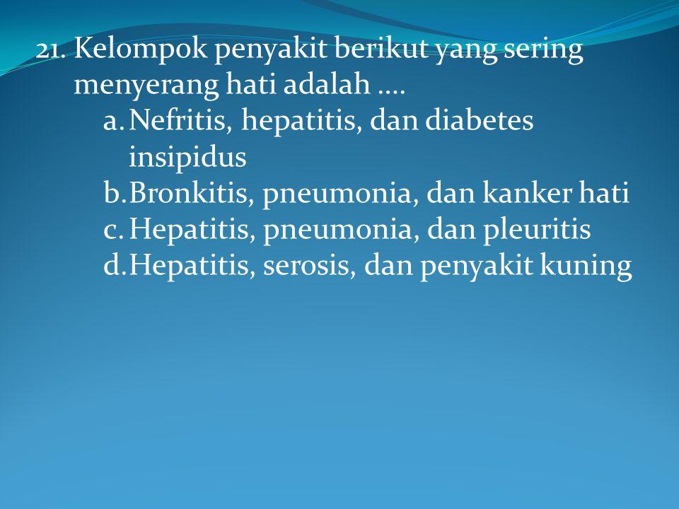21.Kelompok penyakit berikut yang sering menyerang hati adalah ….