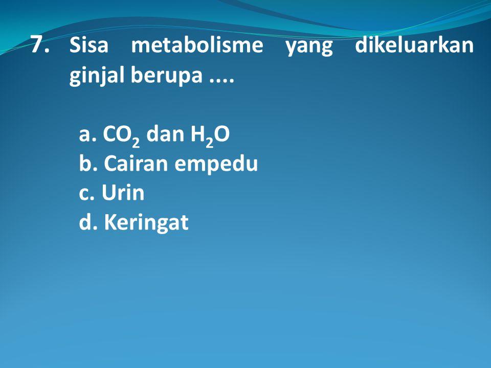 7.Sisa metabolisme yang dikeluarkan ginjal berupa....
