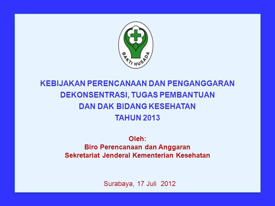 Oleh: Biro Perencanaan dan Anggaran Sekretariat Jenderal Kementerian Kesehatan KEBIJAKAN PERENCANAAN DAN PENGANGGARAN DEKONSENTRASI, TUGAS PEMBANTUAN DAN DAK BIDANG KESEHATAN TAHUN 2013 Surabaya, 17 Juli 2012
