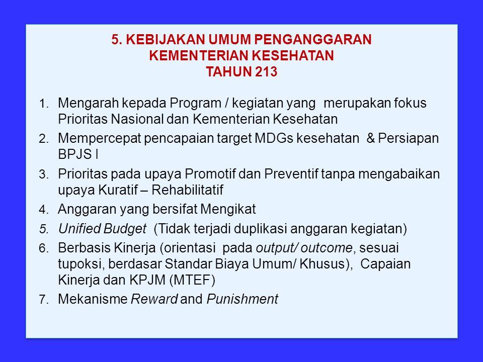 5. KEBIJAKAN UMUM PENGANGGARAN KEMENTERIAN KESEHATAN TAHUN 213 1. Mengarah kepada Program / kegiatan yang merupakan fokus Prioritas Nasional dan Kemen