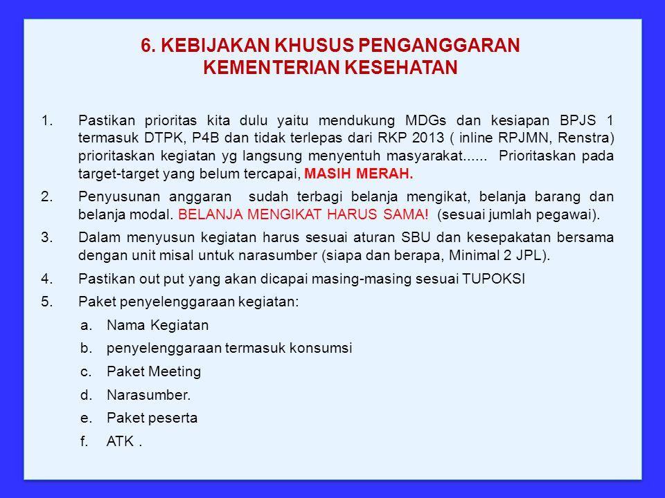 1.Pastikan prioritas kita dulu yaitu mendukung MDGs dan kesiapan BPJS 1 termasuk DTPK, P4B dan tidak terlepas dari RKP 2013 ( inline RPJMN, Renstra) p