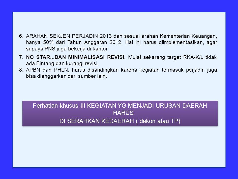 6.ARAHAN SEKJEN PERJADIN 2013 dan sesuai arahan Kementerian Keuangan, hanya 50% dari Tahun Anggaran 2012.