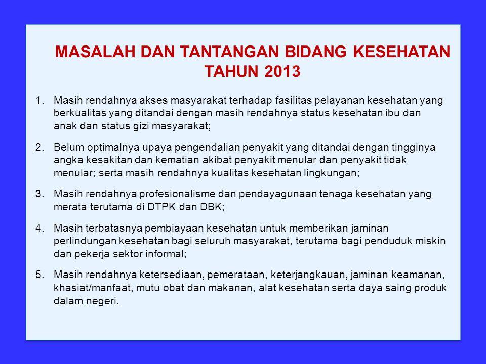 MASALAH DAN TANTANGAN BIDANG KESEHATAN TAHUN 2013 1.Masih rendahnya akses masyarakat terhadap fasilitas pelayanan kesehatan yang berkualitas yang dita