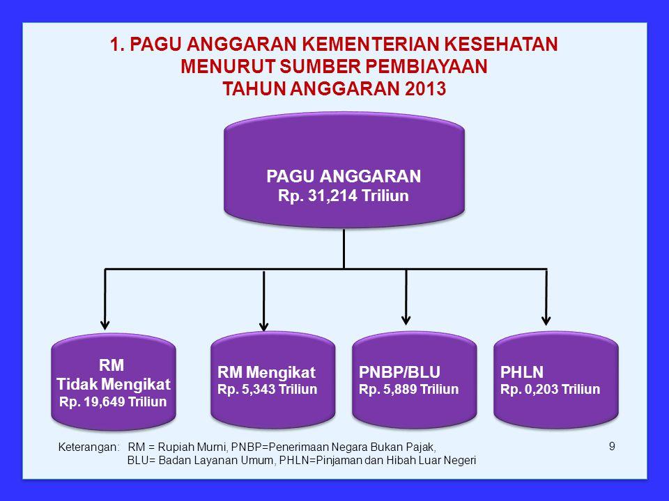 PAGU ANGGARAN Rp. 31,214 Triliun PAGU ANGGARAN Rp. 31,214 Triliun 1. PAGU ANGGARAN KEMENTERIAN KESEHATAN MENURUT SUMBER PEMBIAYAAN TAHUN ANGGARAN 2013