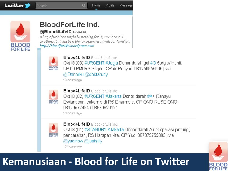 Kemanusiaan - Blood for Life on Twitter