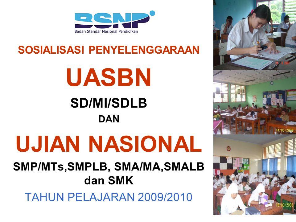 SOSIALISASI PENYELENGGARAAN UASBN SD/MI/SDLB DAN UJIAN NASIONAL SMP/MTs,SMPLB, SMA/MA,SMALB dan SMK TAHUN PELAJARAN 2009/2010